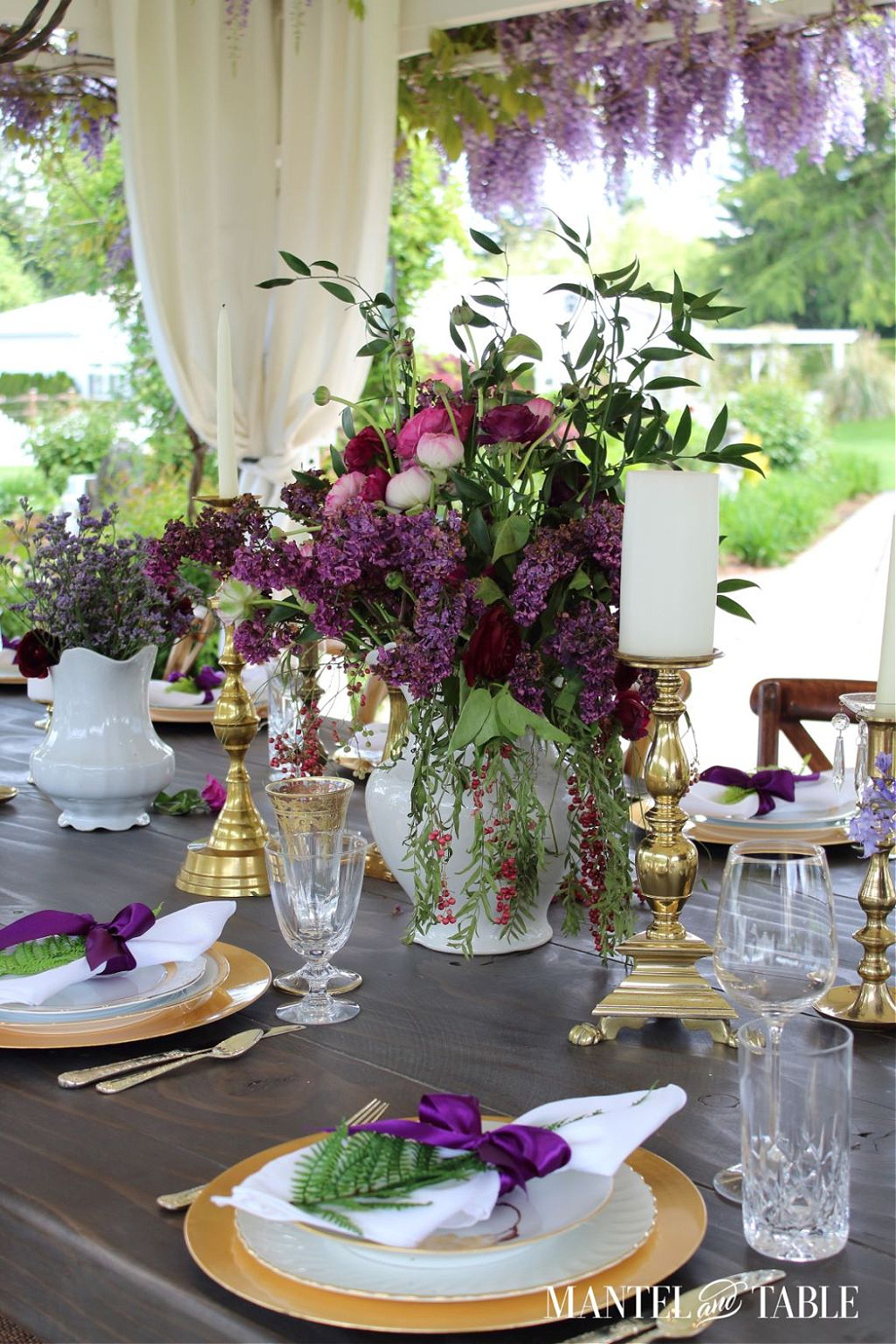 purple and gold summer tablescape