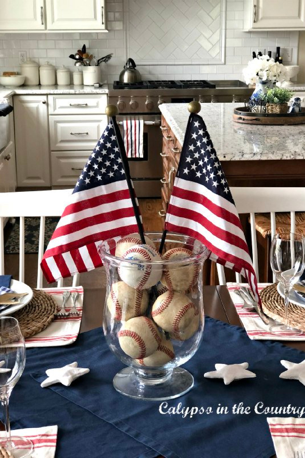 centerpiece with American flags and baseballs