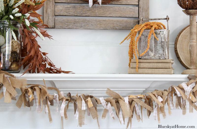 fabric and burlap banner on mantel