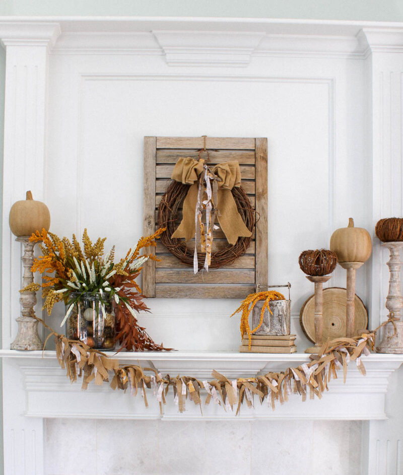fall mantel with fabric and burlap banner