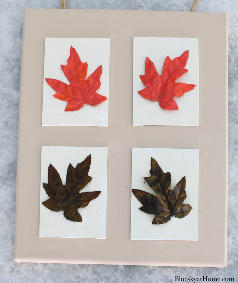 4 fall leaf canvases on large canvas