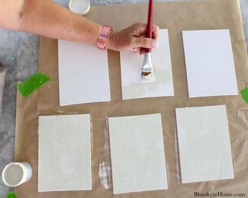 painting small white canvases
