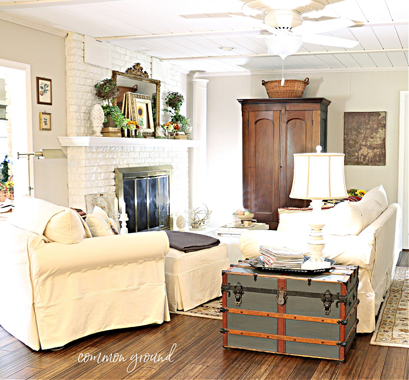 fall living room in neutral colors
