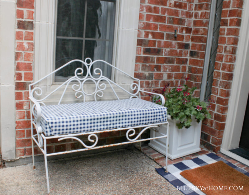 no~sew bench cushion by front door