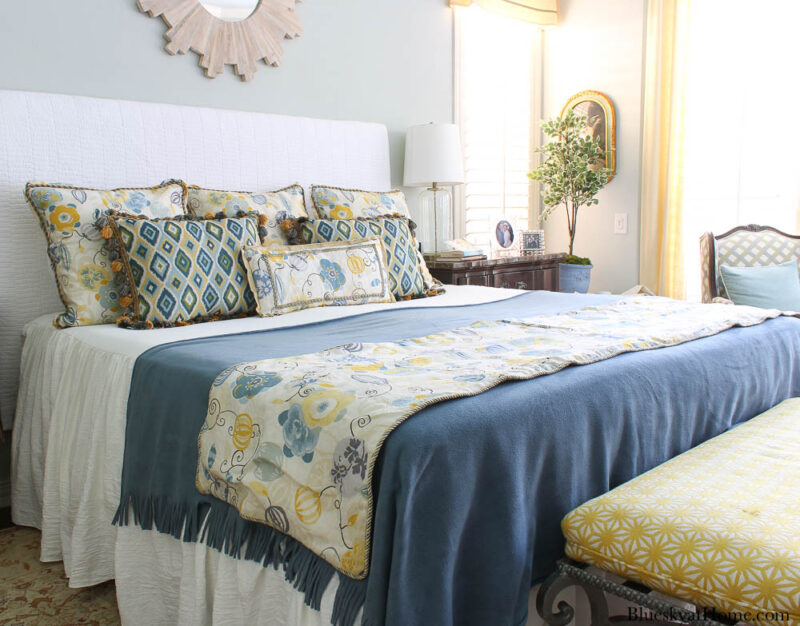 blue and gold fall bedding