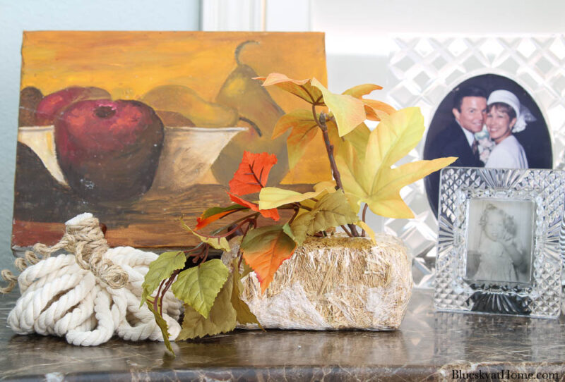 fall fruit painting, small hay bale, white rope pumpkin