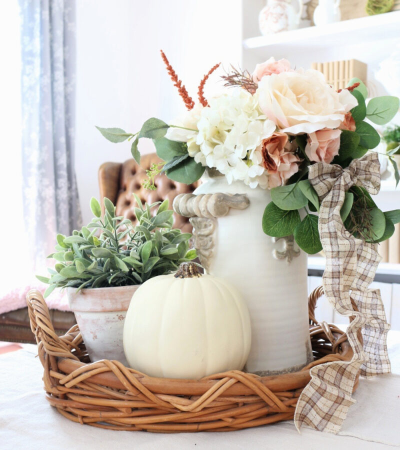 fall neutral fall vignette in basket tray