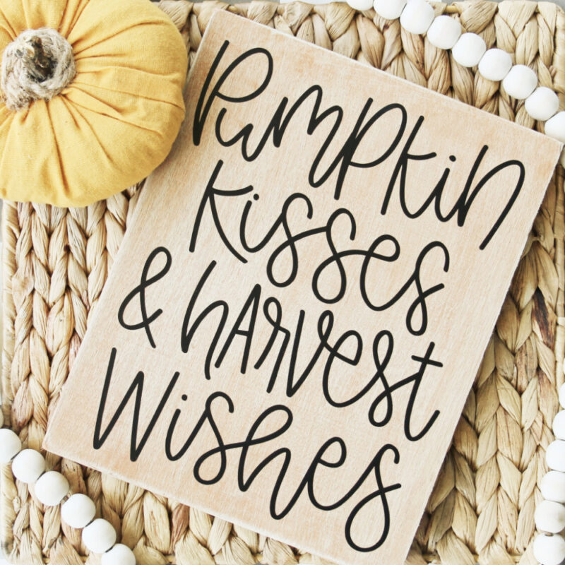 fall sign with pumpkin kisses and harvest wishes