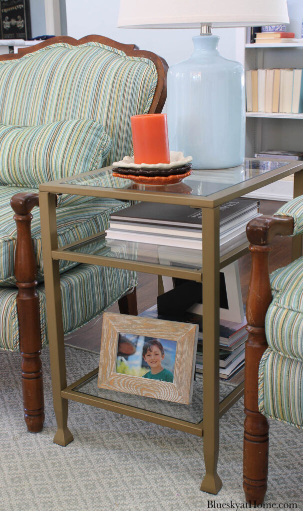 glass and metal end table with three shelves for living room update for living room update