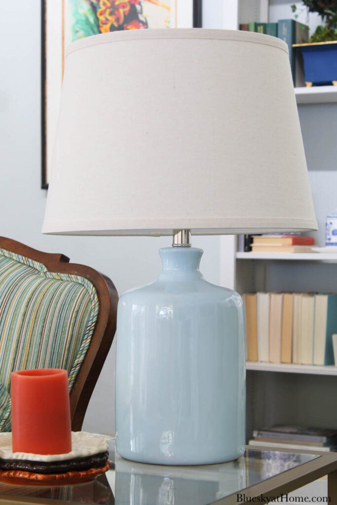lamp with light blue base and white shade