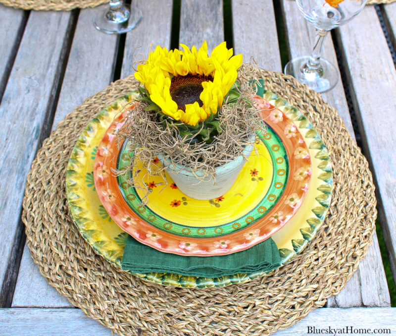 sunflower on fall plate stack