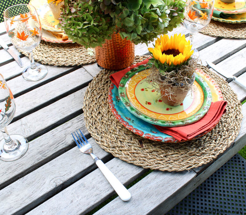 white handle fork with fall place setting