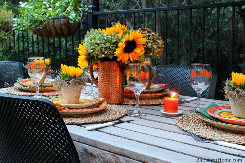 outdoor fall tablescape at night