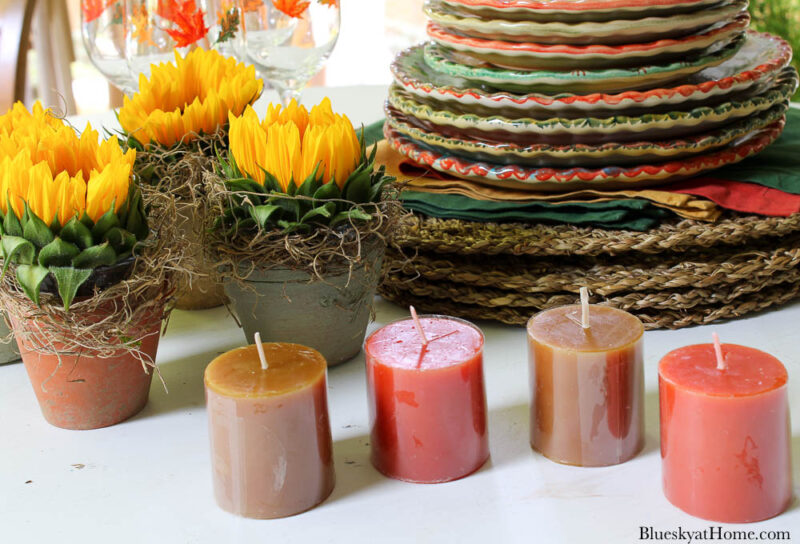 orange and brown votive candles
