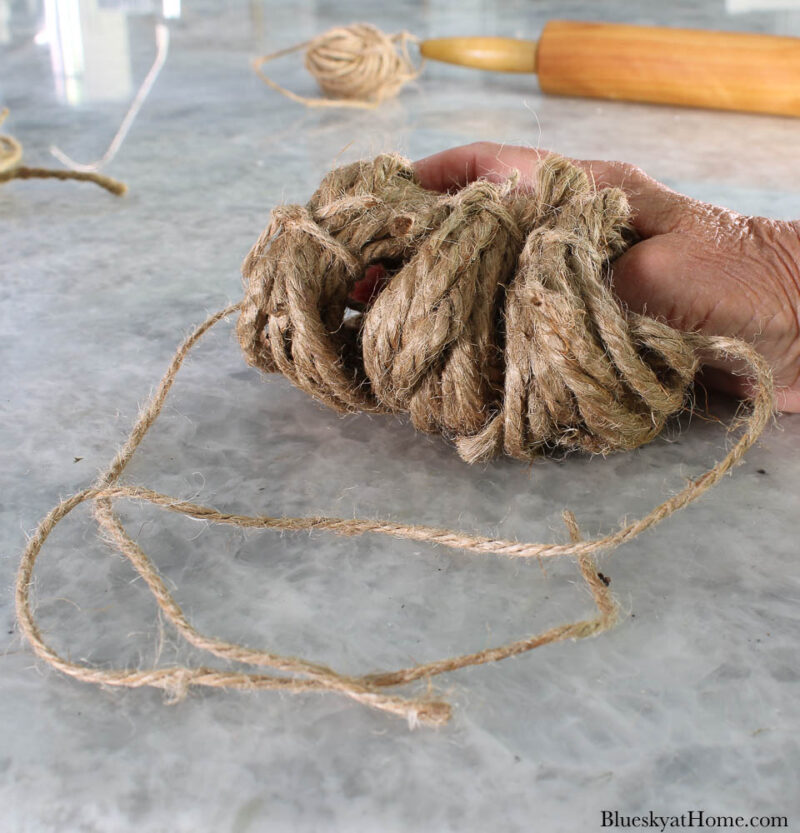decorated pumpkin with twine