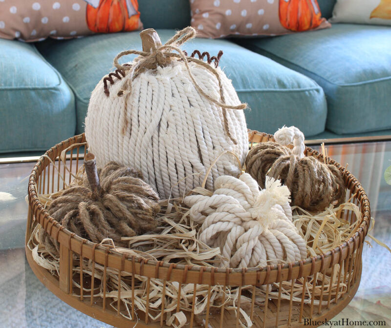 rope and twine pumpkins in round tray