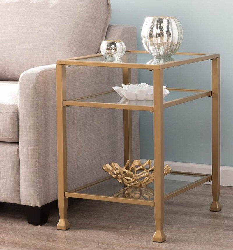 glass and metal end table with three shelves for living room update