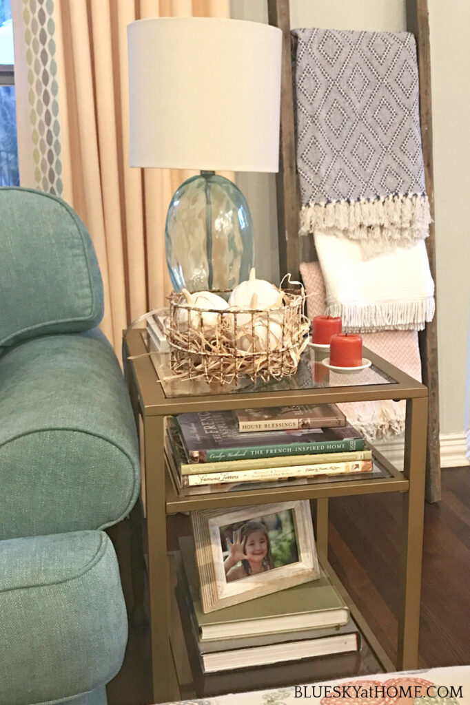 modern end table in updated living room