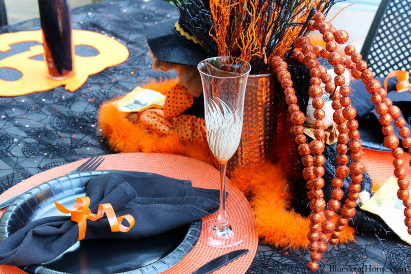 Halloween tablescape on the patio place setting