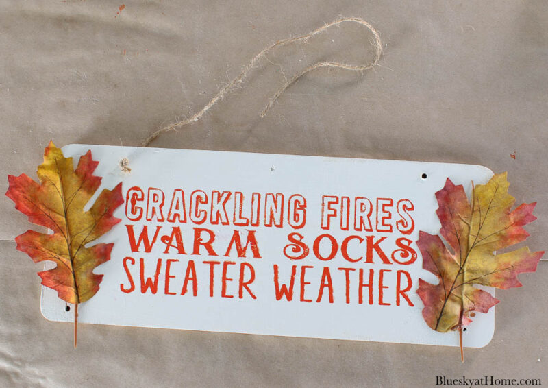 fall sign with sayings in orange