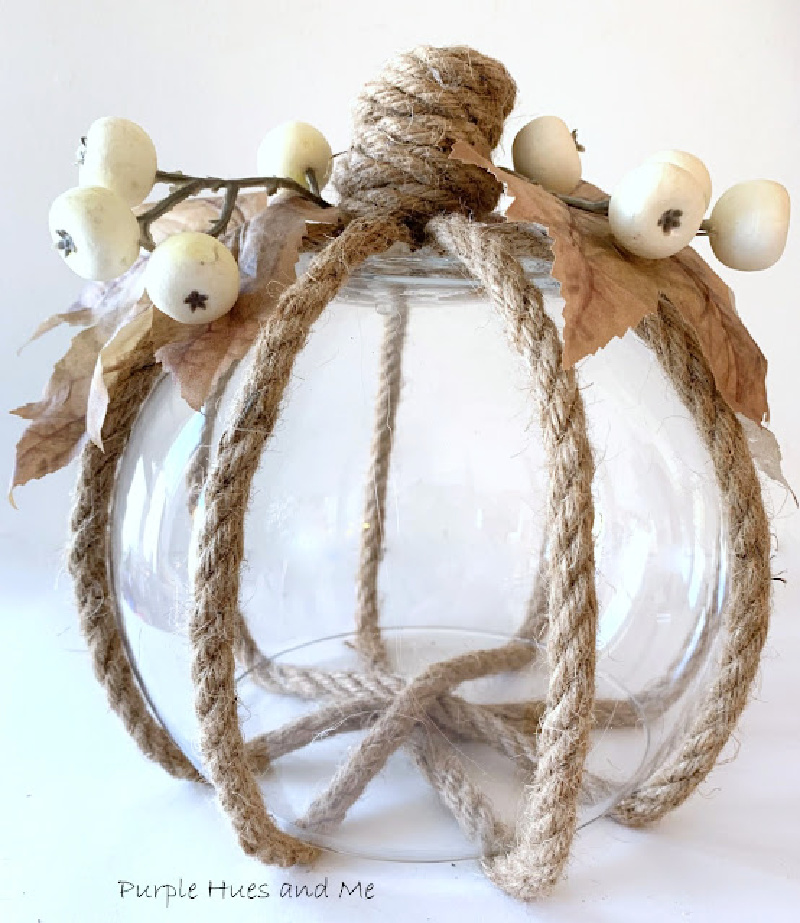 pumpkin made with glass and rope
