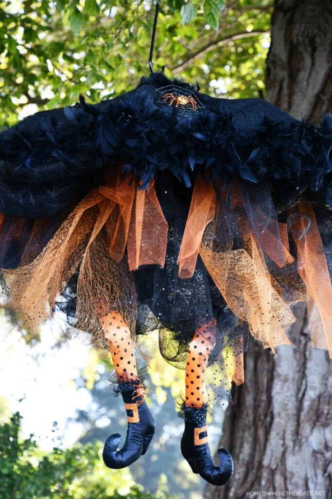 DIY Halloween witch hanging by tree